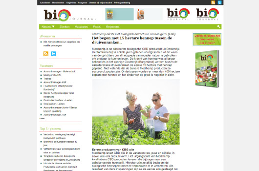 Bio Journaal verhaal over Medihemp